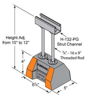 HBM-Support With Threaded Rod Extension dimensions