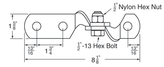 3 Hole Hinge Connector dimensions